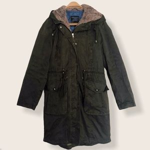 Dark Green Parka with Removable Faux Fur Lining